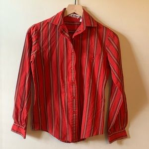 Vintage 80s Red Striped Buttondown